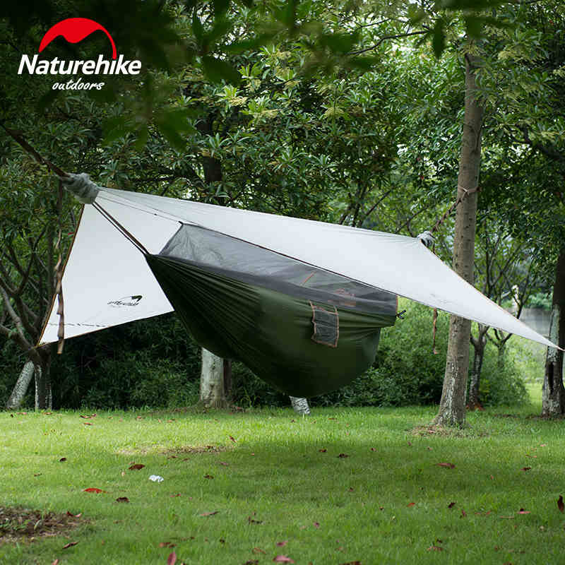 Hanging Tent Outdoor Covered Hammock with Bed Net Portable Hiking Sleeping Bag Netting  1 Person Only 1.5kg 2 Color-Naturehike
