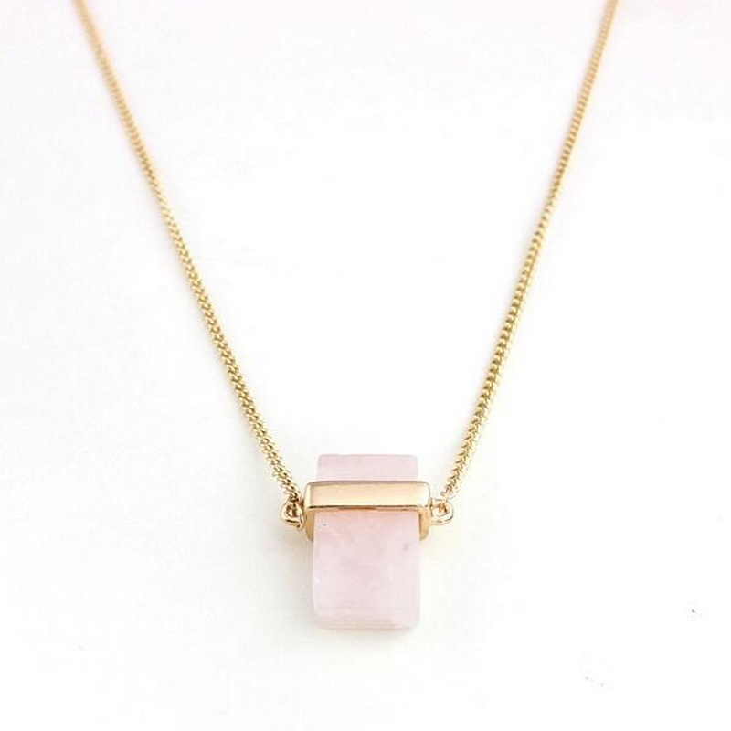 Hot Pink Pendants Natural Stone Jewelry Genuine Drusy Druzy Square Gold Crystal Pendants Necklace For Women Female JN737(China (Mainland))