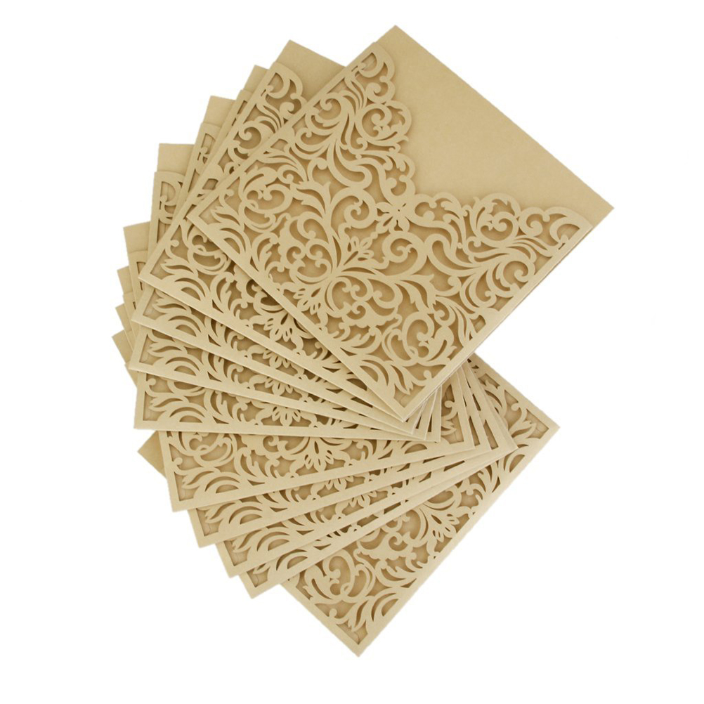 10Pcs Hollow Out Decorative Pattern Wedding Invitation Card Greeting Card Congratulation Card with Envelope(China (Mainland))