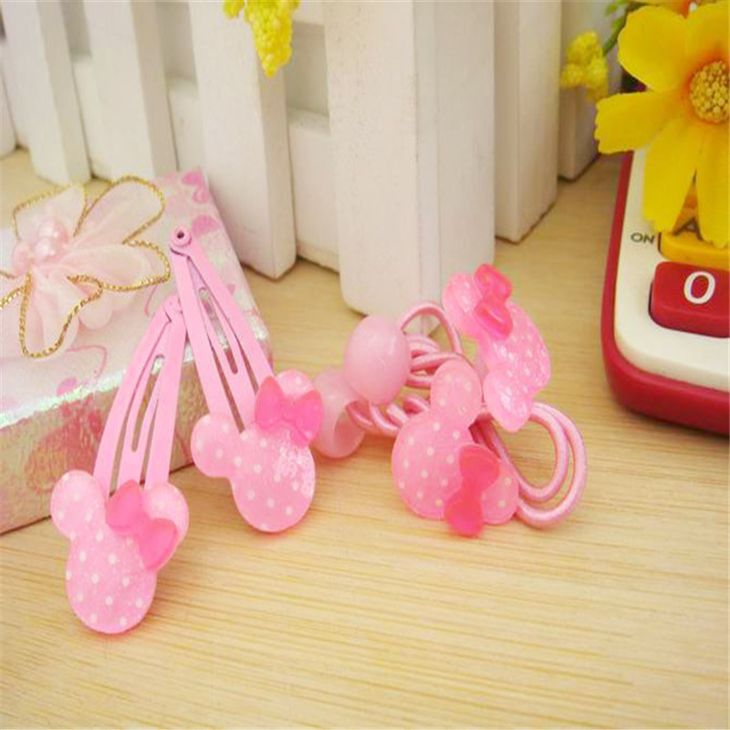 Surprise 4Pcs/Lot Baby Girls Headbands Pink Cute Polka-dotted Mouse Hairpins Fashion Kids Acrylic Headwear for BB Girl Gift(China (Mainland))