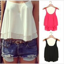 Stylish Women Summer Clothing Bilayer Sleeveless Tee Shirt Chiffon Shirt Stunning Loose Vest Sexy T-shirt 5037(China (Mainland))