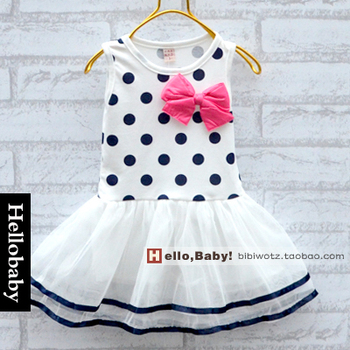 Hot-selling 1pcs baby girl candy color bow child vest tulle dress kids children summer clothing
