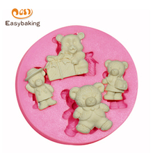 4 kinds Bear 3D Silicone cake Mold Chocolate Candy Jello Kitchenware for Baking Christmas Cake Moulds ES-1118(China (Mainland))