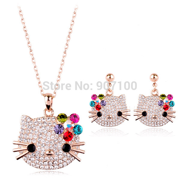 2016 Hot sale Earrings Necklace women joyas ouro 18K Austrian Crystal hello kitty gold plated kids jewelry sets(China (Mainland))