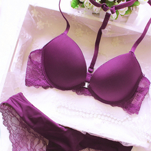 Buckle small chest women's underwear bra push up lace sexy thin adjustable set