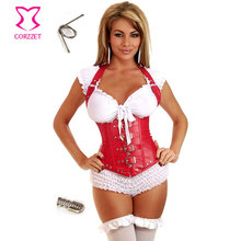 Hot Steampunk Clothing Women Corpet Corselet Underbust Halter-neck Sexy Red Leather Corset Vest Steel Boned Corses Para Mujer