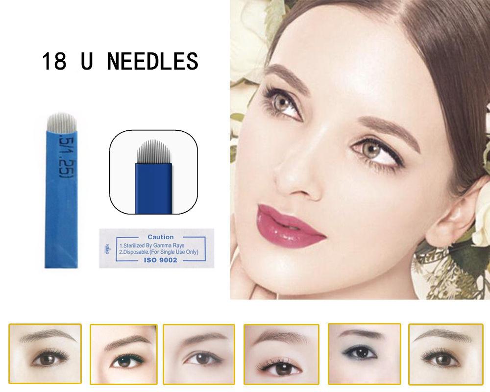 wholesale 50 PCS 18 Pin U Shape Tattoo Needles Permanent Makeup Eyebrow Embroidery Blade For 3D Microblading Manual Tattoo Pen(China (Mainland))