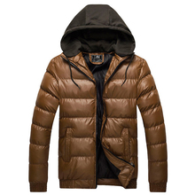 Mens Fashion Faux Leather Hooded Parka Jacket WINTER WARM Down Coat Outwear(China (Mainland))