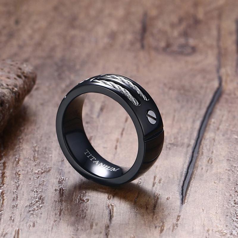 VNOX 100% Titanium Ring for Men Black Color With Wire Unique 2016 Male Jewelry