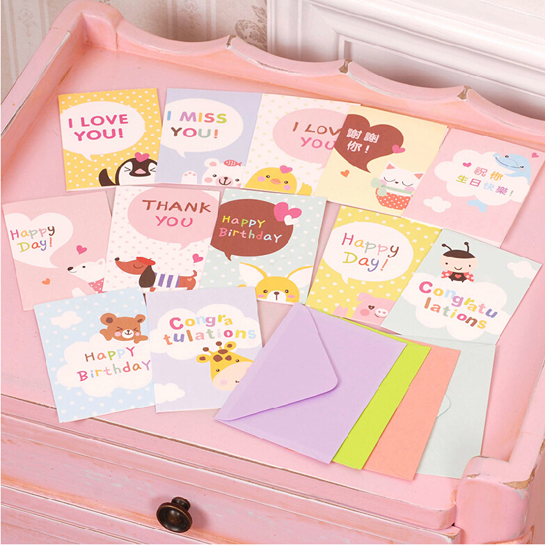 20 sets of cute greeting cards for kids/children/friends,animal greeting cards for gift/birthday/thanksgiving/congratulation(China (Mainland))