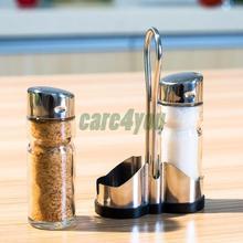 Set of 2pcs Glass Spice Jar Seasoning Box Salt Sugar Pepper Shakers Bottle Kitchen Accessory FE#8(China (Mainland))