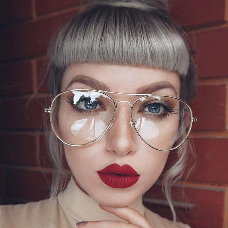 Classic Gold Frame Clear Glasses Myopia Clear Frame ...