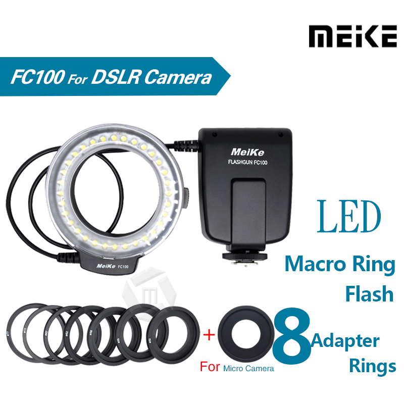 Meike FC100 LED Macro Ring Flash Light for Canon 450D 500D 550D 600D 650D 700D 1100D 6D 7D 5D Mark II & Nikon Digital SLR Camera(China (Mainland))
