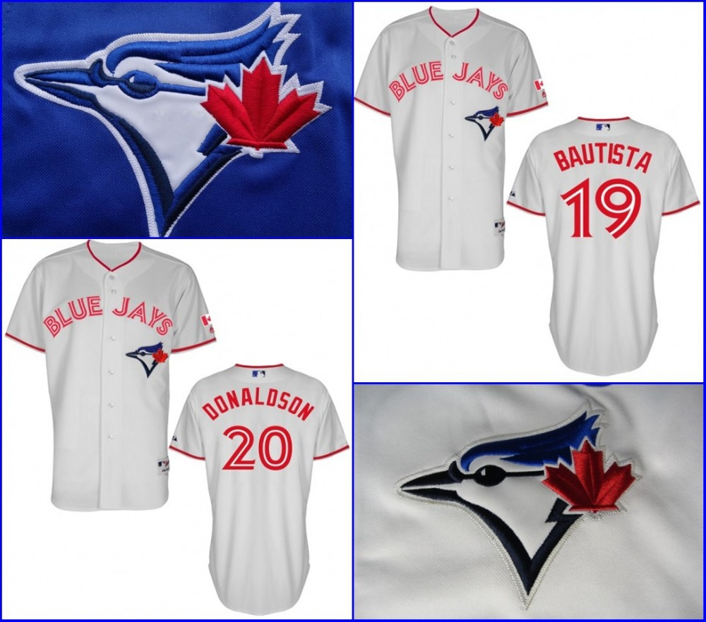 Mens Toronto Blue Jays Authentic #19 Jose Bautista #20 Josh Donaldson Cool Base 2015 Canada Day Baseball Jerseys Stitched Cheap(China (Mainland))