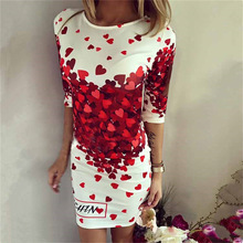 2016 Summer Mini Dresses Women Sexy Party Club Bodycon Sheath Casual Elegant Dress Print Red Heart Lovely Dresses Vestidos