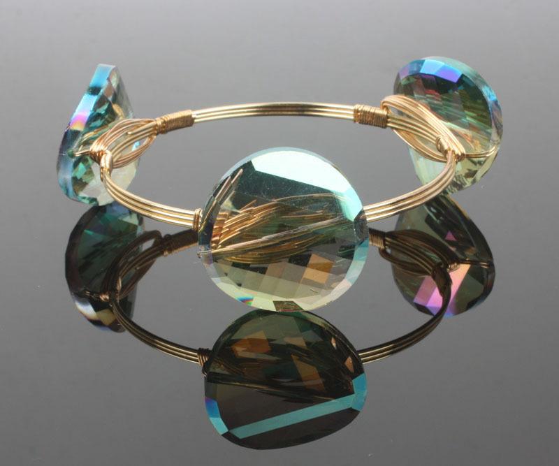summer bohemian style green crystal bead bangle boho gold wire wrap bracelet women vintage pulseras fashion jewelry BR930(China (Mainland))