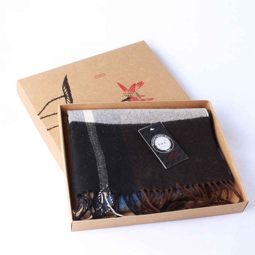 29*23*3.5cm Classical Ink brown paper box Spot scarf towel underwear Tshirt A4 Book exquisite packaging box gift boxes100pcs/lot(China (Mainland))