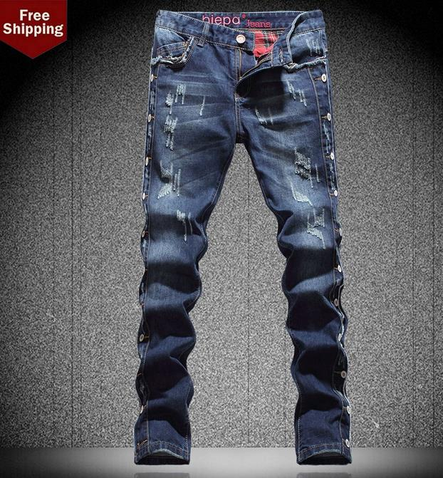 Фотография Winter fashion blue splice hole england biker jeans men pant man denim trousers straight street personalized famous brand