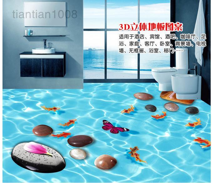 Customized 3d photo wallpaper 3d floor painting wallpaper 3d pebbles water lines fish floor tile floor 3d living room decoration(China (Mainland))