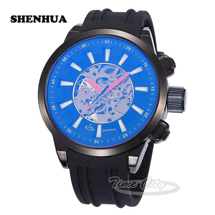 2015 SHENHUA Luxury Mens Self Wind Automatic Mechanical Wrist watches Waterproof Silicone Strap Casual Skeleton Retro Gift Clock(China (Mainland))