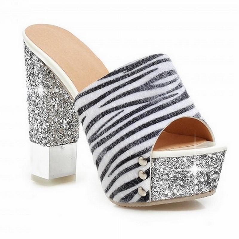 Flower Zebra Print Glitter Platform Open Toe Slides Patch Color Women Sandals Thick High Heels Sandals Summer Shoes