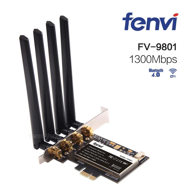 PCI Express 802.11AC Dual Band Broadcom BCM94360 1300Mbps WiFi Fenvi FV9801 Desktop PCI-E Wireless Adapter with Bluetooth BT 4.0(China (Mainland))
