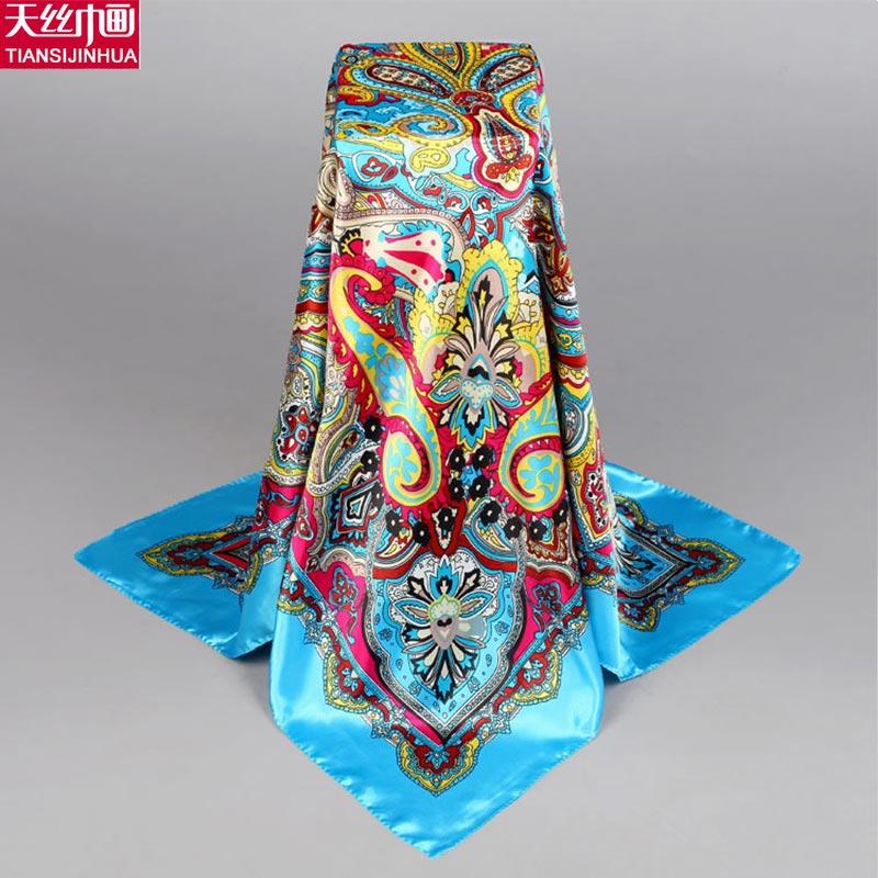 90*90cm Bufanda 16m/m thick Pure Silk Large Square Scarf Neckerchief Luxury Brand shawl summer scarves women infinity hijab lady(China (Mainland))
