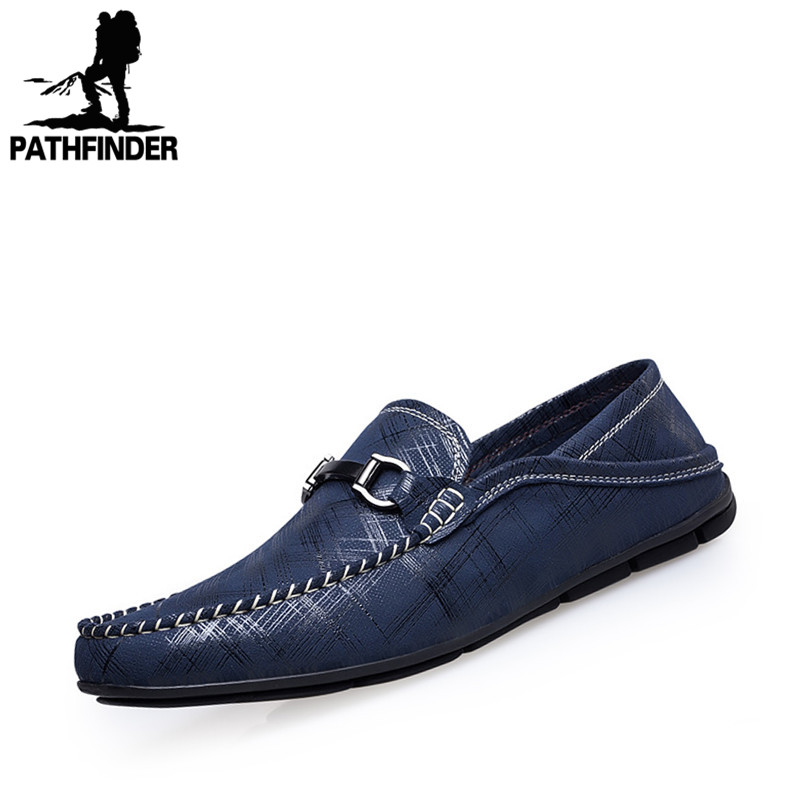 2016 New Spring Men Genuine Leather Shoes Men's Casual Moccasin Driving Flat Shoes Loafer Slip On Breathable Shoes Black