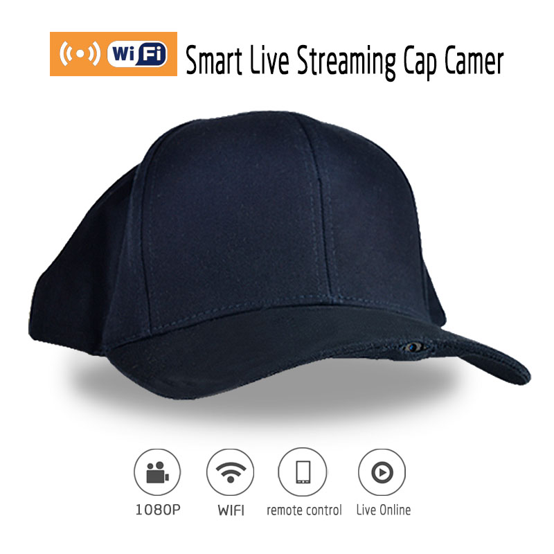 Mini Smart Live Streaming Cap Camera 1920*1080P FHD Wearable Hidden Mini Camera Sport Hat Cap Support P2P And Wifi With Audio(China (Mainland))