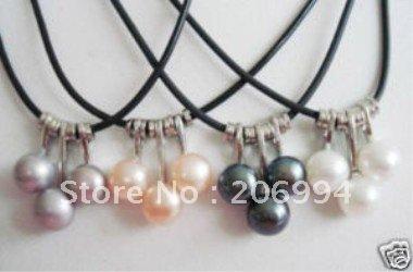 WholesaleBeautiful multicoloured Freshwater pearl pendant Necklace fashion jewelry 6pc/lot
