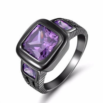 2015 New Fashion Jewelry Size 8 9 10 11 12 Amethyst sapphire ring 10KT Black Rhodium Plated Rings for men's Gift R048