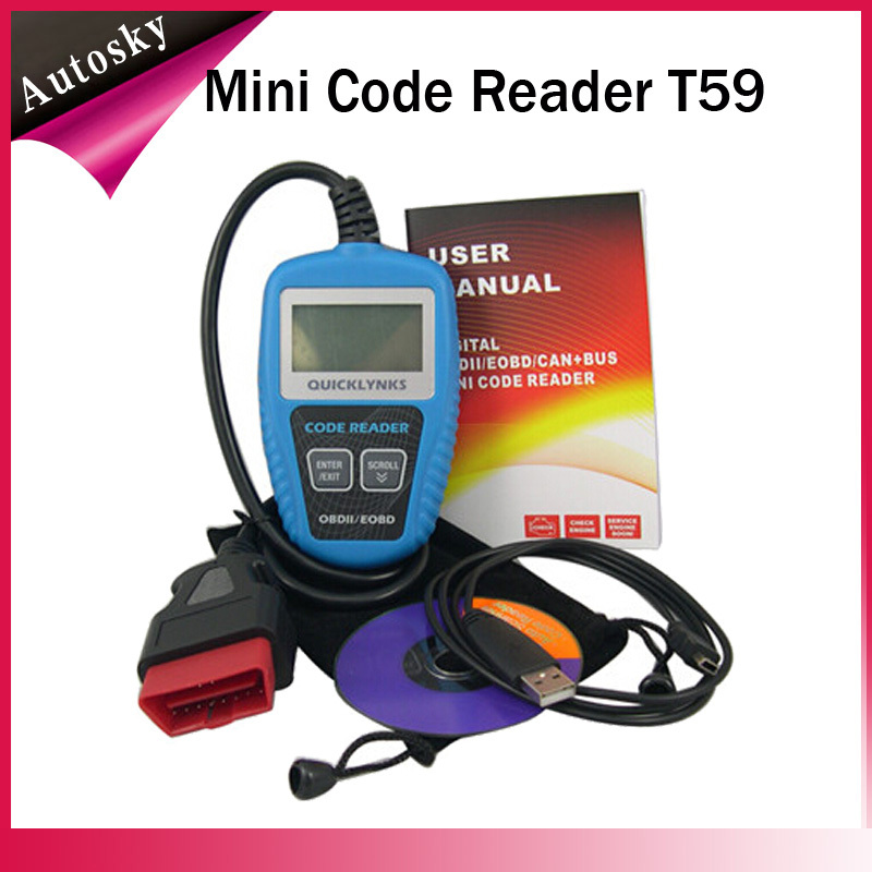 Best Quality New Powerful Enough to Retrieve Same Information as Large Expensive Scanners CAN OBD2/EOBD Mini Code Reader T59(China (Mainland))
