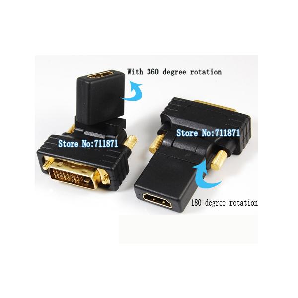 50 Pieces DVI Male HDMI Female Adapter 180 360degree DVI-D 24+1 Male to HDMI Female Connector DVI HDMI Converter DVI to HDTV(China (Mainland))