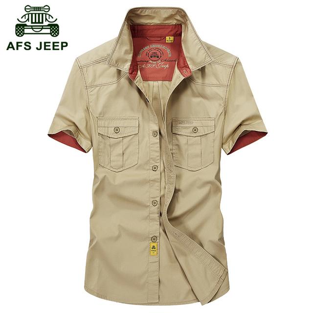 Высокое Качество АФН JEEP 2016 Летом мужской моды случайные марка короткие рубашка ...