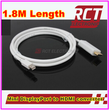 NEW!!!1.8m 6ft 1080P Mini DisplayPort Display Port DP to HDMI Cable Adapter for Apple Macbook Mac Pro Air Free shipping(China (Mainland))