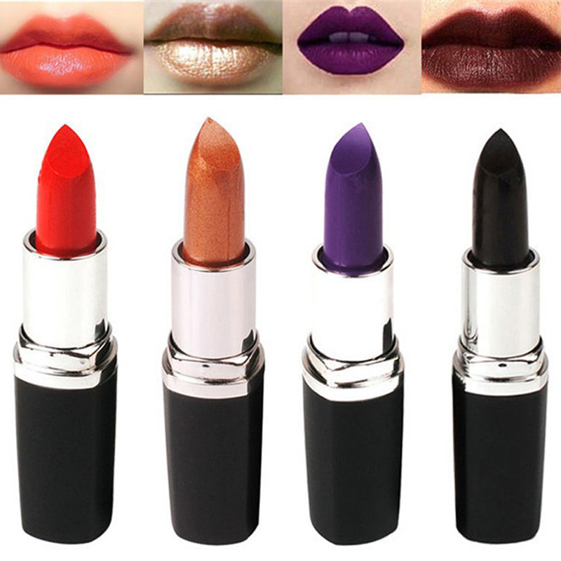 Hot makeup black purple matte lipstick heroine Lady danger pink nouveau ruby woo/ Long lasting matte lipstick 4 style to mouth(China (Mainland))