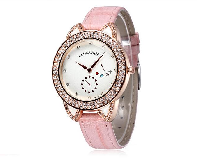 Korea Fashion watch Women pink brand name full Rhinestone decoration Leather Rose Gold quartz beautiful girl Wrist watches white(China (Mainland))
