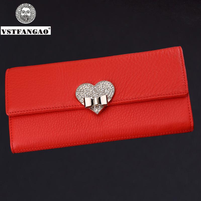New Fashion Women Ladies Red Soft Genuine Leather Clutch Female Wallet Long Card ZIpper Purse Handbag Birthday Bags(China (Mainland))