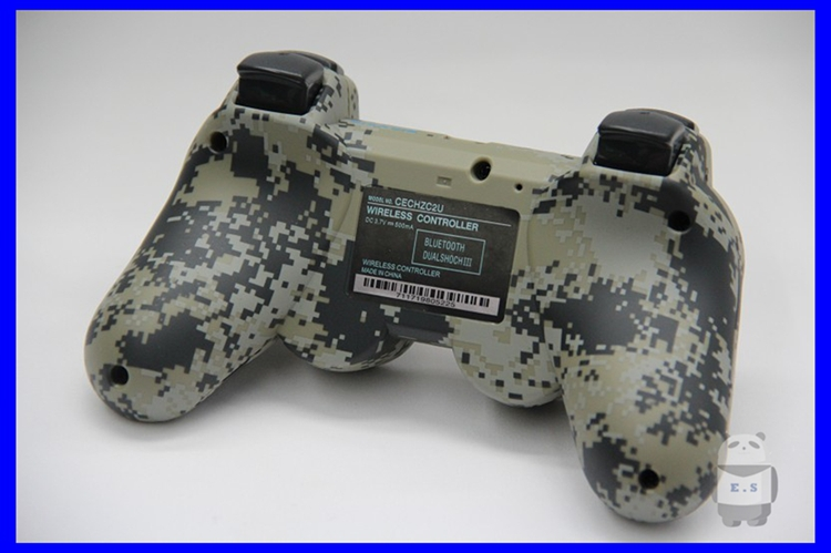 Wholesale 2pcs Camouflage Double Shock 6 Axis Bluetooth Wireless Controller for Sony Playstation 3 PS3 - E.S.000859(China (Mainland))