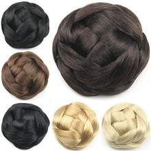 1PC 55g Synthetic Hair Small Chignon Bun Hairpiece for Bride Black Brown Blonde Hair