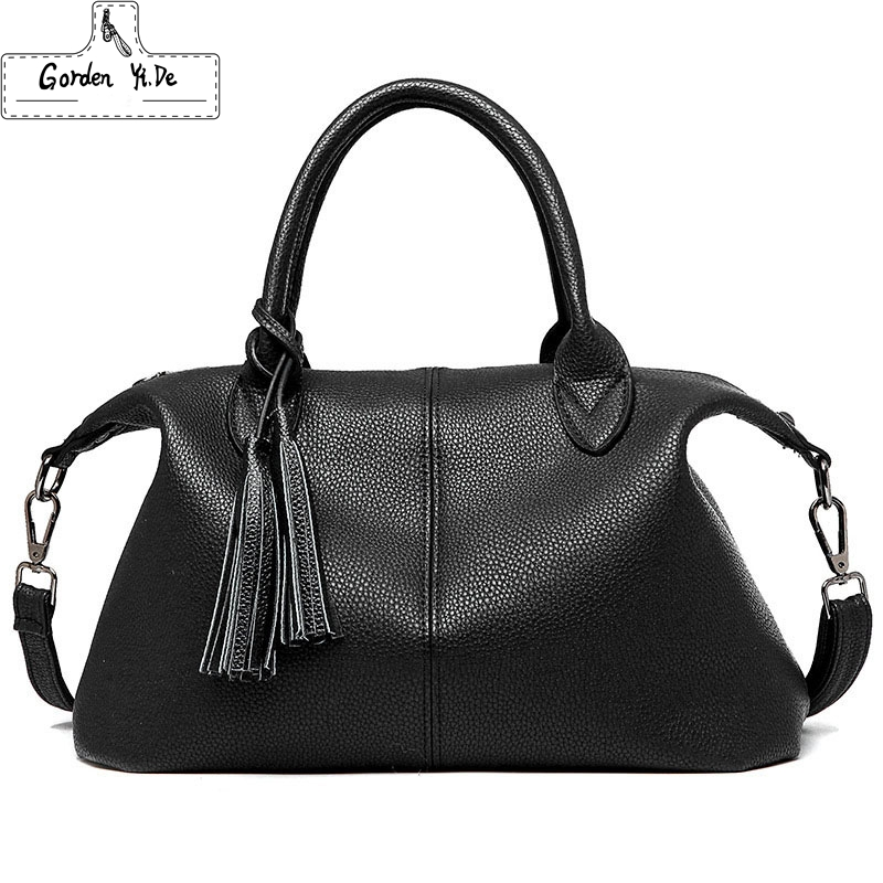 2016 New Women Handbag Genuine Leather Shoulder Bag Cowhide Ladies Black Brown Casual Shopping Bag Large Capacity Tote Bolsos(China (Mainland))