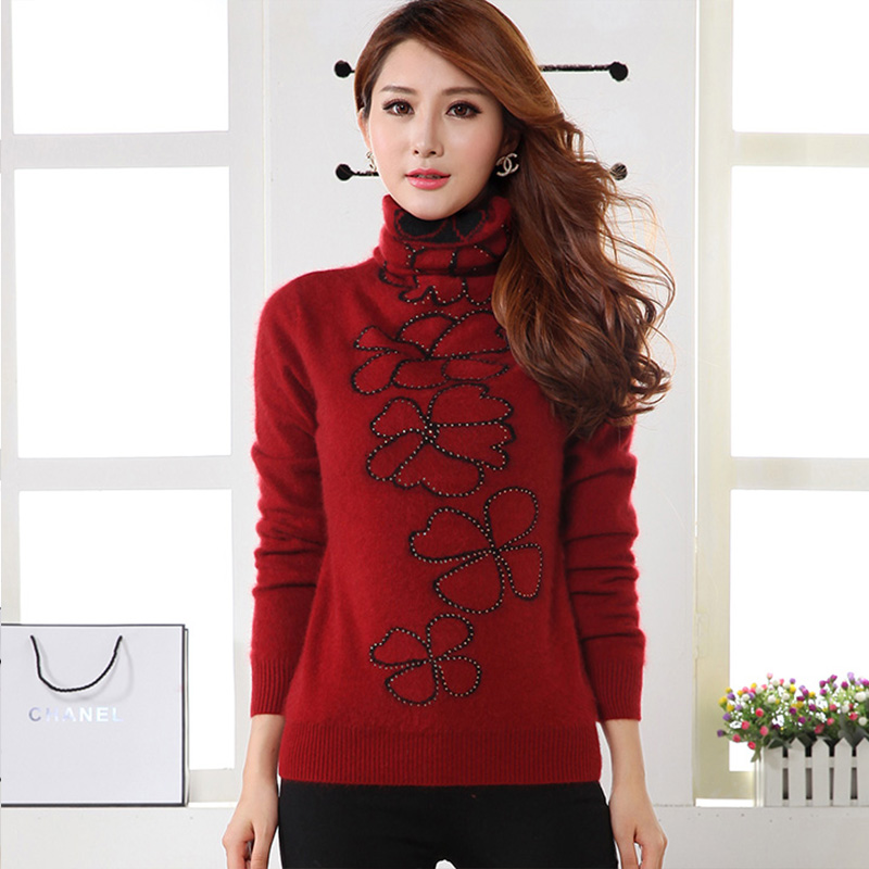 Woman Pullovers Sweater Flower Shape Decoration Turtleneck Spring Knitted Pullovers Long Sleeve Knitwear Cashmere Pullover151135