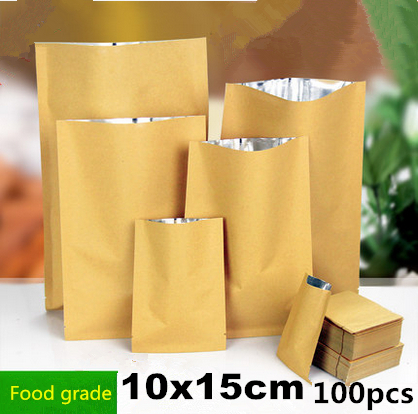 10x15cm 100pcs Outer packing Kraft paper inner packing Aluminum plating pack bags/ Thicken packaging spices,candy,nuts pouchs(China (Mainland))