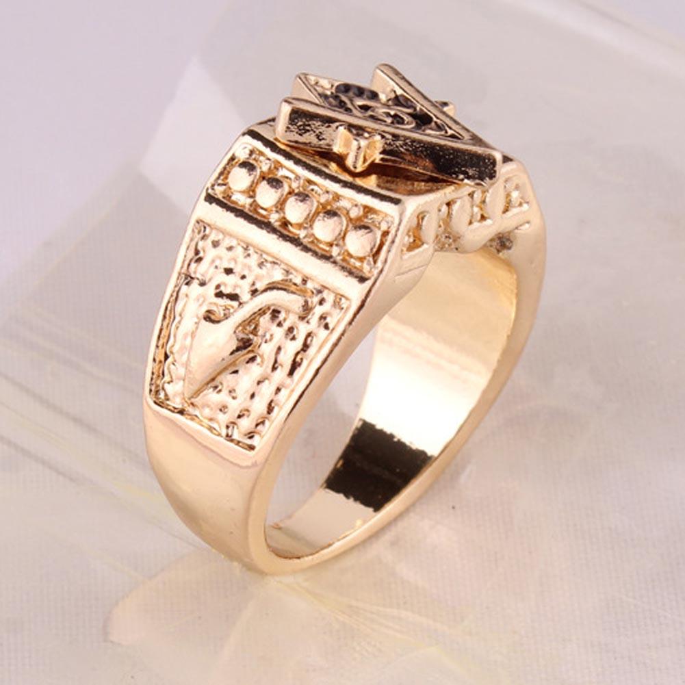 Fashion Unisex Square Free Mason Freemasonry Masonic Finger Ring Men Women (Size:7-13)