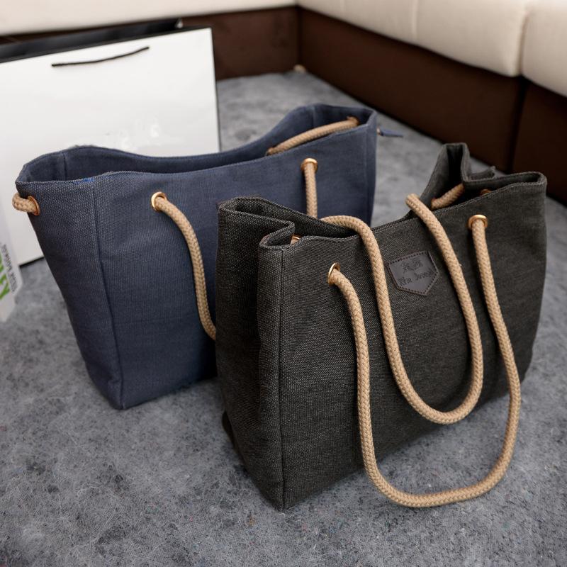 2016 New Arrival Women Canvas Handbags Double Rope Zipper Shoulder Bags Bolsas Femininas Vintage Retro Ladies Colth Tote Bag Hot(China (Mainland))