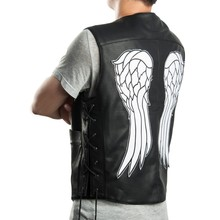 THE WALKING DEAD GOVERNOR - DARYL DIXON ANGEL WINGS LEATHER VEST JACKET Men Halley  Motorcycle Punk Vest(China (Mainland))