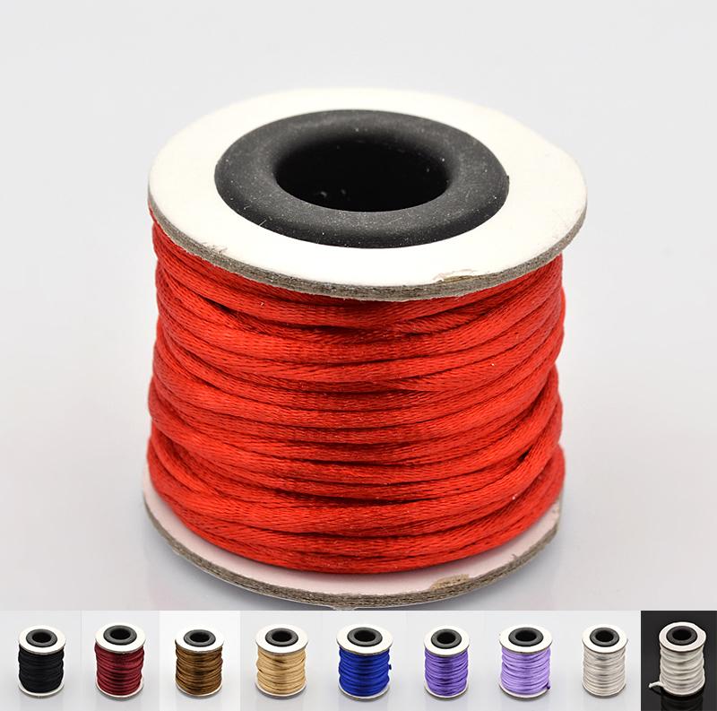 10m/roll 2mm Nylon Chinese Knot Cord Satin Rattail Braided String shamballa cord macrame Beading Rope for DIY Jewelry Pandahall(China (Mainland))