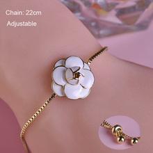 Adjustable Enamel Rose Flower Bracelet 18K Thin Chain Black White Roses Bracelets Diy Engagement Accessories Pulseira Feminina(China (Mainland))