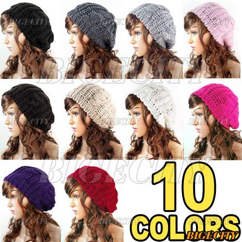 New Winter Women Lady Winter Warm Knitted  hat  Crochet Slouch Baggy Beret Beanie Cap Y1(China (Mainland))