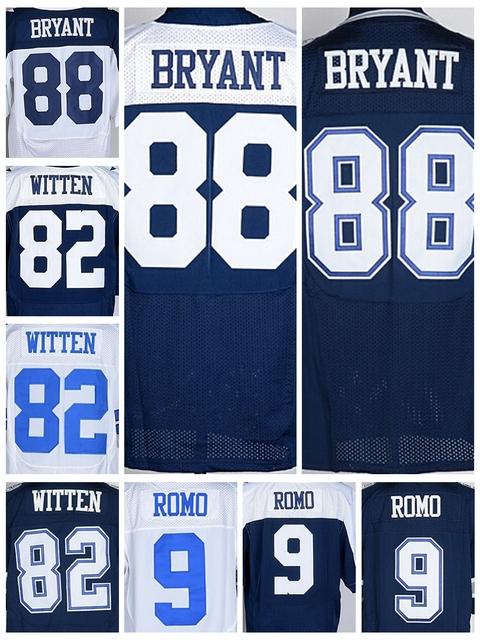 Discount 88 Dez Bryant Jersey Cheap 9 Tony Romo 82 Jason Witten Vintage Blue White Elite Game Stitched American Football Jerseys